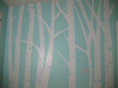 Aqua & white nursery wall.