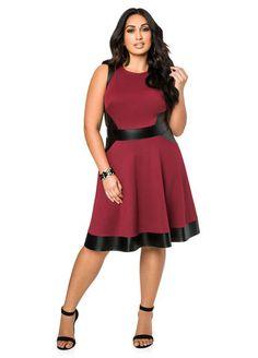 ede3328159 Faux Leather Ponti Skater Dress Faux Leather Ponti Skater Dress Plus Size  Business, Beautiful Outfits. Ashley Stewart