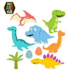 Delightful set of 6 Cute Dinosaurs Brontosaurus T-Rex Triceratops and more  Each separate clip art in this set is included in both high quality