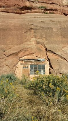 Old cottage built into the canyon wall. Monticello, Utah.