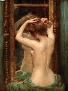 The Old Pier Glass - James Carroll Beckwith