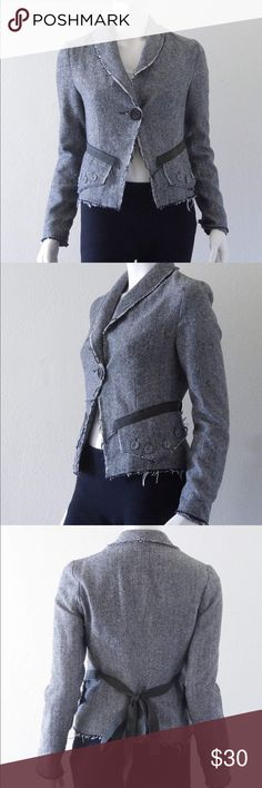 """Anthro Beaubois Distressed Blazer Frayed edges add a subtly distressed look to this jacket without distracting from the polished silhouette. Bow on the back adds a feminine and dainty touch. 20"""" length. Long sleeves. Faux pockets. PTP 17"""". Anthropologie Jackets & Coats Blazers"""