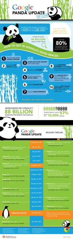 Google Panda Update Up Close: SEO.com have come up with an excellent infographic about the Google algorithm update called the panda update which includes information about how to get in Google's good graces and a Google panda update release timeline.