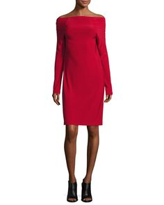 NORMA KAMALI OFF-THE-SHOULDER DRESS, RED. #normakamali #cloth #