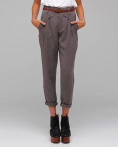 Belted Twill Trouser with tapered leg, front pleating detail, front fold over pockets and back welt pockets