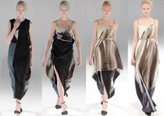 Two-in-one dresses that transform with a single tug were shown as part of London-based fashion designer Hussein Chalayan's Autumn Winter 2013 collection at Paris Fashion Week (+ slideshow). AMAZING.