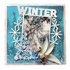 Joy!Crafts 6002/1440 Bille's wikkelbloemen 6002/1530 Sneeuwvlokboom 6011/0640 Designpapier Winter landschap 6013/0340 Knipvellenset Season Greetings 6370/0076 Artifical flowers besjes naturel