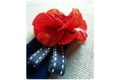 Flower Felt & Ribbon Boutonniere by Yellow Papaya