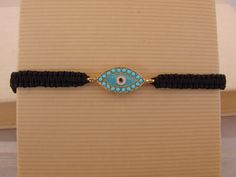 Black gold with turquoise  Macrame Evil Eye Bracelet Greek Mati by ForThatSpecialDay on Etsy