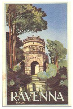 ENIT - Ravenna #TuscanyAgriturismoGiratola Vintage Italian Posters, Vintage Travel Posters, Vintage Graphic, Poster Vintage, Portugal, Ravenna, Advertising Poster, Italy Travel, Places To Go