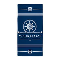 Nautical Rope and Anchor Personalized Beach Towel