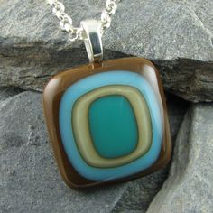 Earthy Glass Pendant / Brown Turquoise Ivory & by LindsaysDesigns