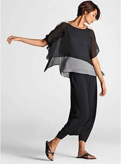I like the sheer over top mixed with the under top color-block, silk -I also like the fitted bottom.   the Lagenlook with the baggy full bottoms can bury a short girl like me- garment by eileen fisher: