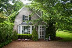 sweet little cottage, tucked away in the shady greenery. Cozy Cottage, Cottage Living, Cottage Homes, Cottage Style, Cottage Design, House Design, Little Cottages, Cabins And Cottages, Little Houses