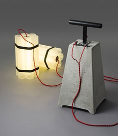 Mister Boom and Miss Dynamite Lamp by Docstone. Via TheMAG.it - concrete armatures - concrete light Concrete Light, Concrete Lamp, Beton Design, Concrete Design, Lamp Design, Lighting Design, Diy Luz, Edison Lampe, Steampunk Lamp