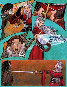 Prydain. Graphic Novel Adaptation by Dawn Davidson. Achren and Gwydion. The Book of Three. Lloyd Alexander.