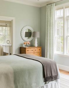 """Check my other """"home decor ideas"""" videos sage green bedroom, green bedroom curtains Green Bedroom Walls, Sage Green Bedroom, Bedroom Paint Colors, Green Rooms, Bedroom Decor, Bedroom Ideas, Bedroom Curtains, Green Walls, Cozy Bedroom"""