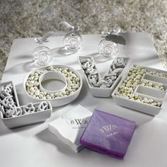 LOVE candy dishes for holding treats near the chocolate fountain.  From Wedding Star for $39.98.