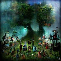 "https://www.facebook.com/Alexander.Jansson.art/photos/a. ""Twin trees market"" digital mixed media."