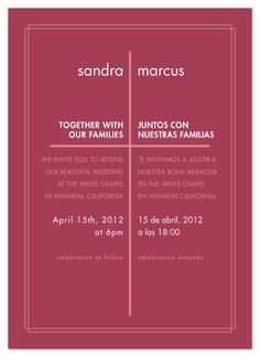 bilingual english spanish wedding invitation | spanish, spanish, Wedding invitations