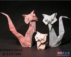 "*Paper Sculpture - ""Cats"" by Roman Diaz (Origami) Origami Cat, Paper Crafts Origami, Scrapbook Paper Crafts, Roman, Book Sculpture, Paper Folding, Art For Art Sake, Cat Art, Fun Crafts"