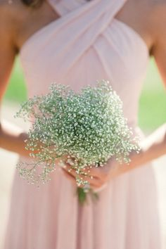 Blush bridesmaid dress with babys breath! | Kennedy Blue