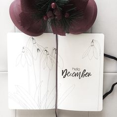 Bullet journal monthly cover page, December cover page, flower drawings, snowdrop flower drawings. @yelidahierro