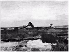 Landscape with a Farm  Vincent van Gogh Watercolor, Watercolour Drenthe: October, 1883