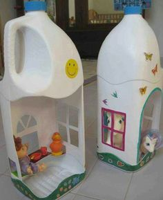 Repurpose bottles for dolls house!