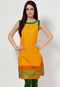 Sleeve Less Self Patten Yellow Kurta