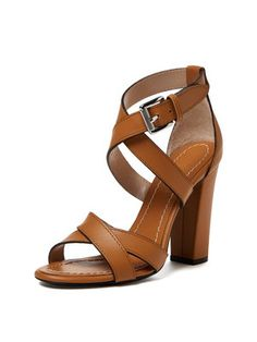 Summer Women Peep Toe Ankle Strappy Chunky Kitten Heel Sandal ...