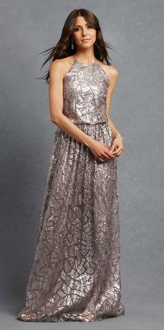 Metallic charcoal grey bridesmaid dress by Donna Morgan