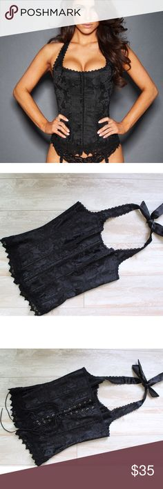 Fredericks of Hollywood Dream Halter Corset ⭐️ Fredericks of Hollywood Black dream Halter Corset, new without tags size 32 ⭐️no garters Frederick's of Hollywood Intimates & Sleepwear
