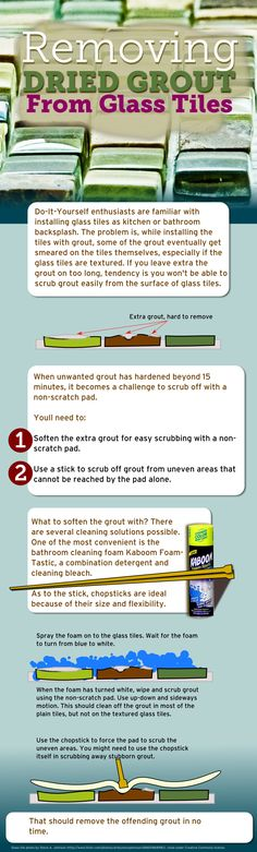 Removing Dried Grout From Glass Mosaic Tiles - Infographic (http://www.mineraltiles.com/removing-dried-grout-from-glass-tiles/)