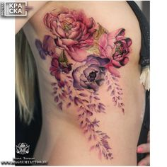 Beautiful watercolor florals - tattoos on women - tattoos, w Cancer Tattoos, Up Tattoos, Body Art Tattoos, Sleeve Tattoos, Tattoos For Women, Cool Tattoos, Celtic Tattoos, Skull Tattoos, Scar Tattoo