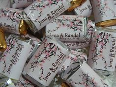 Cherry Blossom Miniature Chocolate Bars for by CandyBarBoutique, $16.99