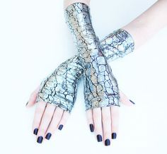 Snake Eater Arm Warmers Fingerless Gloves Gothic by Mellode