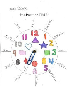 """Classroom management ideas: FREE """"It's Partner Time! Fun way to pick a partner, at the same time reinforcing numbers, colors & shapes. Teacher Freebies, Classroom Freebies, Classroom Activities, Classroom Ideas, Classroom Procedures, Classroom Teacher, Preschool Education, Classroom Behavior, Time Activities"""
