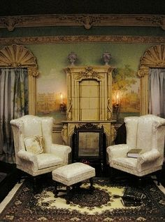The Orleans Study, a scale room box by Ken Haseltine by Ken Haseltine Regent Miniatures. Miniature Rooms, Miniature Houses, Miniature Furniture, Dollhouse Furniture, Dollhouse Interiors, Mini Sala, Thing 1, Barbie Furniture, Small World