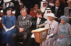 Raine, then Countess Spencer, Earl Spencer, Charles Spencer,Lady Frances Fermoy and Ruth Roche - all at the wedding of Diana Spencer and Prince Charles (Earl Spencer is sitting down after walking Diana down the aisle)