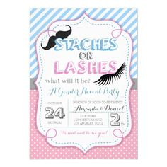 Stashes or Lashes Gender Reveal Invitation Confetti Gender Reveal, Baby Gender Reveal Party, Gender Party, Gender Reveal Party Invitations, Baby Shower Invitations, Invites, Invitation Ideas, Zazzle Invitations, Invitation Cards