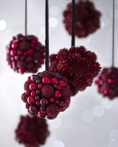 "Six ""Bordeaux"" Berries & Pine Cone Christmas Ornaments at Neiman Marcus."