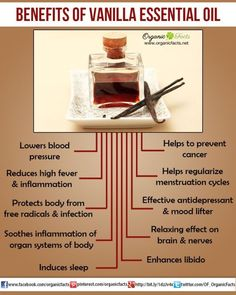 Health Benefits of Vanilla Essential Oil | Organic Facts:The health benefits of Vanilla Essential Oil can be attributed to its properties as an antioxidant, aphrodisiac, anticarcinogenic, febrifuge, antidepressant, sedative, tranquilizing and relaxing substance.
