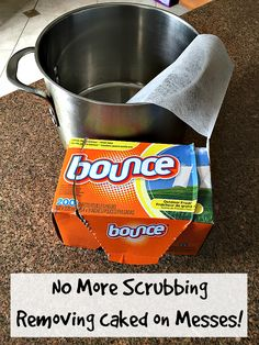 Removing caked on stains on your pots and pans EASily!!
