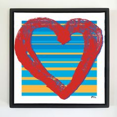 "Overflow series: ""Glowing Love"" art. 24 x 24 inch, digital art & gloss and matte gel on stretched canvas. 26.5 x 26.5 inch, float frame - black flat. ---------------------------------------- #popart #popartist #digitalart #art #artist #contemporaryart #colorfield #abstractart #gloss #matte #art #canvas #jonsavagegallery"