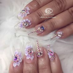 Flower Nail Designs With Rhinestones Weave - clear, flowers, swarovski stones nail art 3d Nail Art, Nail Art Hacks, Acrylic Nail Art, Clear Acrylic, Art 3d, Swarovski Nails, Crystal Nails, Rhinestone Nails, Bling Nails