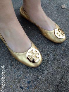 d1130d00e Tory Burch Gold Reva flats -North Carolina Belle