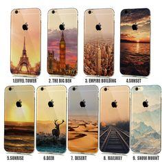 Zachte natuurlijke landschap rubberachtige telefoon case voor iphone 6 6 s 5 5 s SE Siliconen Cover Effiel Toren Parijs Londen Stad Capinhas para