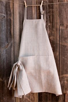Linen Kitchen APRON with Dish Cloth-gray with blue stripes.Unisex apron.Kitchen apron.Stripped apron.Organic linen apron.Apron with pockets....