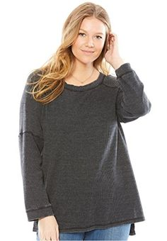 9241e099bf641 Women's Plus Size Classic Thermal Knit Sweatshirt Oversized Tee, Oversized  Sweaters, Latest Fashion For
